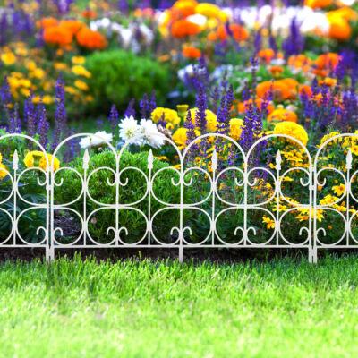 Virágágyás szegély / kerítés (68 x 38 cm, fehér)