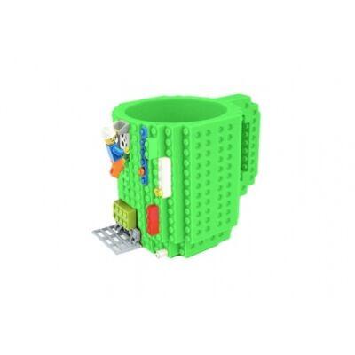 Építőkockás bögre ajándék építőelemekkel (Zöld)
