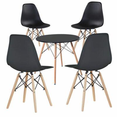 Modern étkezőszék asztallal (4 darab, fekete)