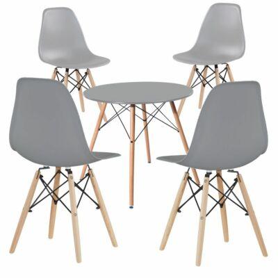 Modern étkezőszék asztallal (4 darab, szürke)